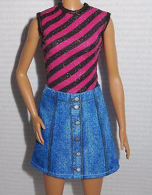 FASHIONISTA ~ DRESS ~ TALL BARBIE DOLL STRIPED TOP JEAN SKIRT CLOTHING