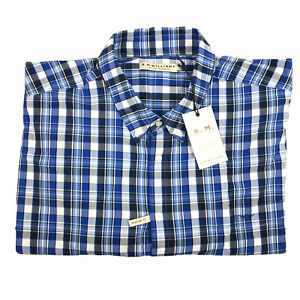 RM Williams Mens Collins Long Sleeve Button Up Shirt Blue White Check Sz 3XB NEW