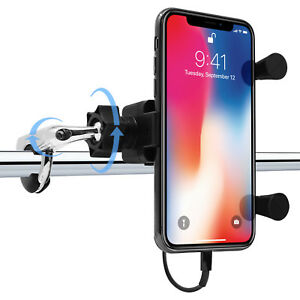 quality design 854c4 113f9 Details about Universal Waterproof Motorcycle Handlebar Cell Phone Holder  Mount w/ USB Charger
