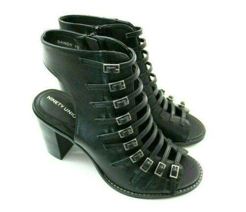 Strappy Heeled Sandals  Black Leather Womens Size 11 12  Ninety Union Sandy
