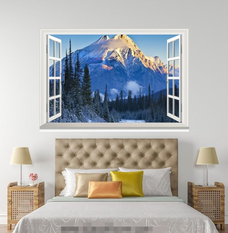 3D Weiß Snow Hills 223 Open Windows WallPaper Murals Wall Print AJ Carly