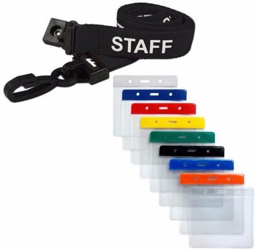 STAFF Lanyard Neck Strap Black /& Small Flexible Wallet ID Card Pass Holder