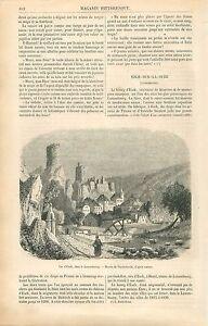 Chateau-d-039-Esch-sur-Sure-Luxembourg-Dessin-de-Vanderhecht-GRAVURE-OLD-PRINT-1860