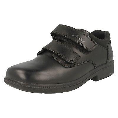 Niños Clarks Negro Cuero Calzado Escolar-Deaton