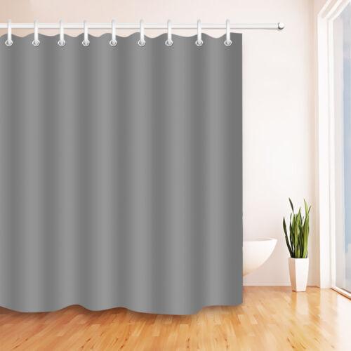 72x72/'/' Solid Grey Bathroom Shower Curtain Liner Waterproof Fabric 12 Hooks