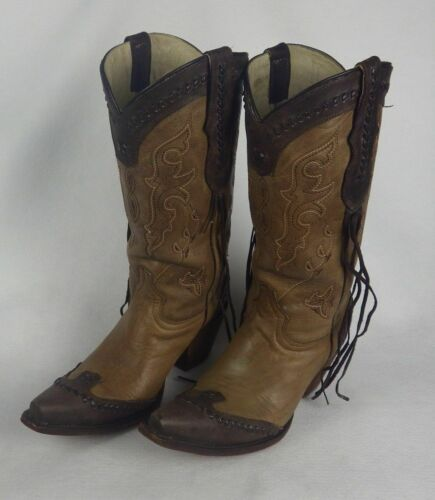 Red Hawk Boots Womens Leather Tassel Knee High Cow