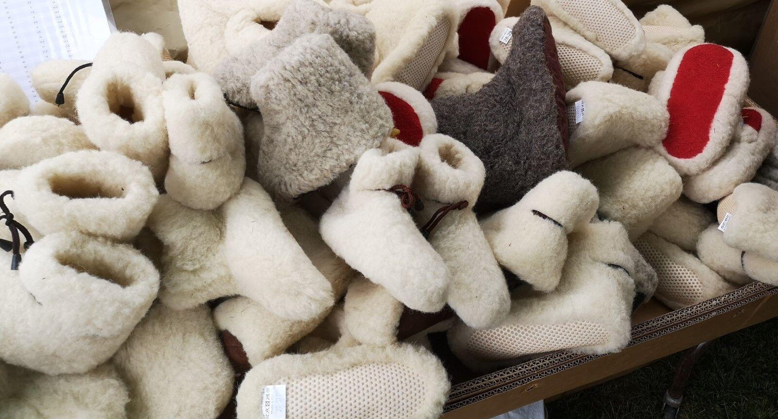 Lote De Trabajo 50+ pares de lana pura Zapatillas botas Antideslizante Chuni Hombres Mujeres Lana Sexo