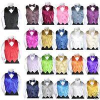 23 Color 2pc Satin Vest + Bow Tie Set For Baby Toddler Teen Boy Suit Tuxedo S-7