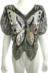 DESIGNER SILVER SHIRT TOP with BUTTERFLY SEQUINS Size M