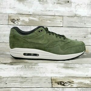Nike-Air-Max-1-Premium-Suede-Olive-Green-White-875844-301-Mens-Sizes