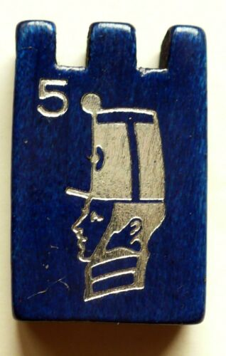 VINTAGE 1960/'S STRATEGO BLUE WOOD GAME PIECE #5 GREAT CONDITION