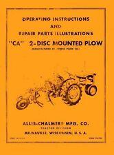 Allis Chalmers Ca 2 Disc Mounted Plow Operators Manual