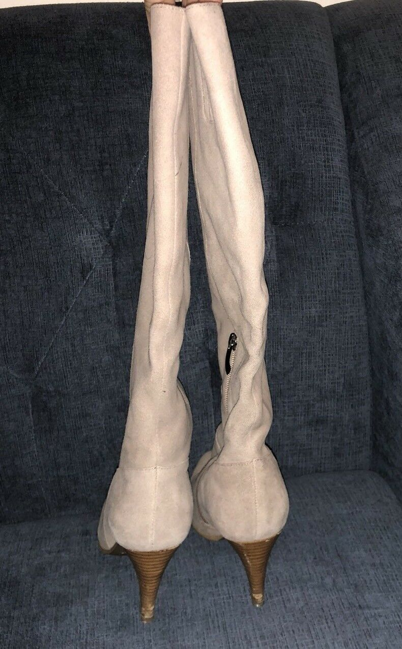 Genuine Suede Tall Stiefel Winter Fur Lined Sz 8.5/9 Super Style Beige Rose