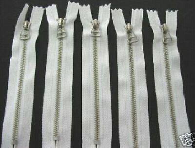 """5/"""" #3 Aluminum Zipper~ Fancy Bell Pull ~ White 5"""