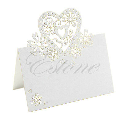Lots Love Heart Laser Cut Wedding Party Table Favor Decor Name Place Cards