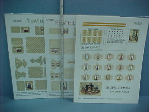 Miniature Sewing Related Patterns /& Boxes Printed Sheets-205,206,223