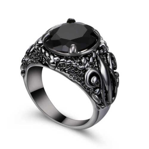 Taille 6 Noir Saphir Big Stone Bague de mariage 18K Black Gold Filled Jewelry