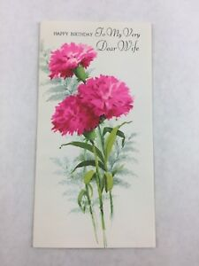 Vintage-Wife-Birthday-Card-Pink-Carnation-Gibson-New-Made-in-USA