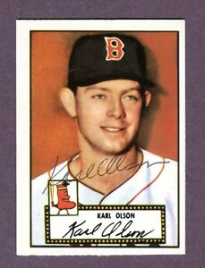 Autographed-Signed-1952-Topps-Reprint-Series-72-Karl-Olson-Red-Sox-w-coa-jh33