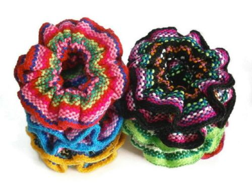 Woven Wool Hair Scrunchies 12 Pack Wholesale Colorful Pony Tail Band Peru Lot