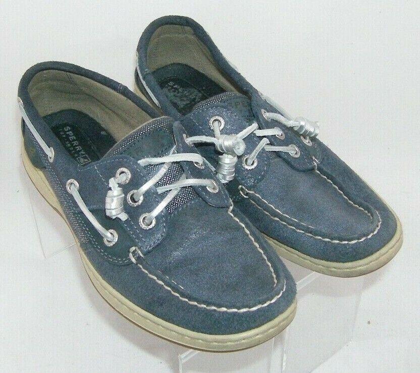 Sperry 'Ivyfish' blue leather metallic round moc toe 3-eye slip on boat shoes 7M