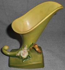 """1940s Roseville Pottery APPLE BLOSSOM PATTERN #321-6"""" Cornucopia Vase"""