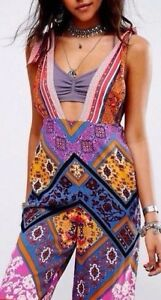 2ab2246d091 Image is loading Free-People-Maritzah-Printed-Jumpsuit-Retro-Plunge-Overall-