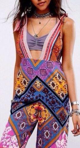 Overall People Ob639332 Multicolor Plunge Printed Jumpsuit Retro Maritzah Free wYRnfAvn