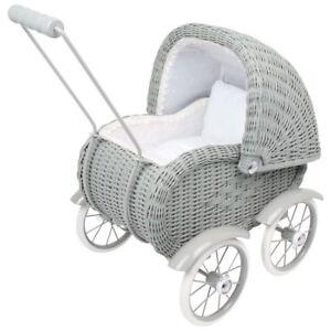 Bébé poussette jouet poussette pour poupée en osier gris