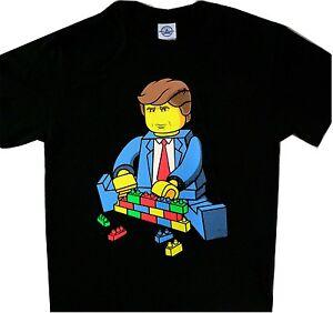 bab99159a263 Trump Build the Wall Lego Black Tee T'shirt Funny | eBay