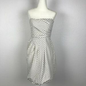 341c4d0a067e5d Image is loading Zara-Basic-Cotton-Blend-Striped-Pleated-Strapless-Bubble-