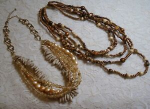 MULTI-STRAND-GOLDEN-BROWN-LUCITE-amp-WOOD-BEADED-BOHO-NECKLACE-LOT
