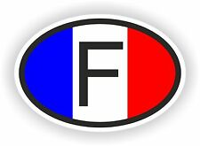 OVAL FRENCH FLAG WITH F COUNTRY CODE STICKER FRANCE MOTOCYCLE AUTO TRUCK LAPTOP