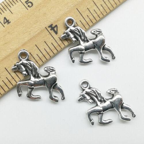 10//30pcs Unicorn Horse Tibet Silver Charms Pendants DIY Jewelry Accs 20*17mm