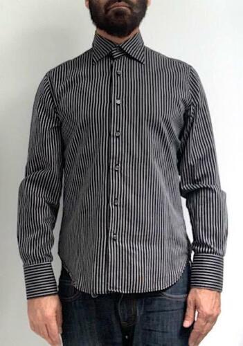 Vintage RYKIEL HOMME Mens Black Striped Long Sleev