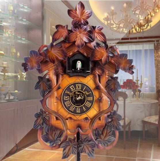 HP 08 14 Inch Wooden Cuckoo Coo Living Room Bedroom Rocking Wall Clock #