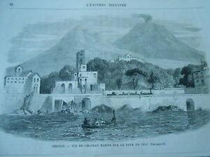 Gravure 1865 - Portici Vue Du Chateau Habité Par Le Pape En 1850 Volcan