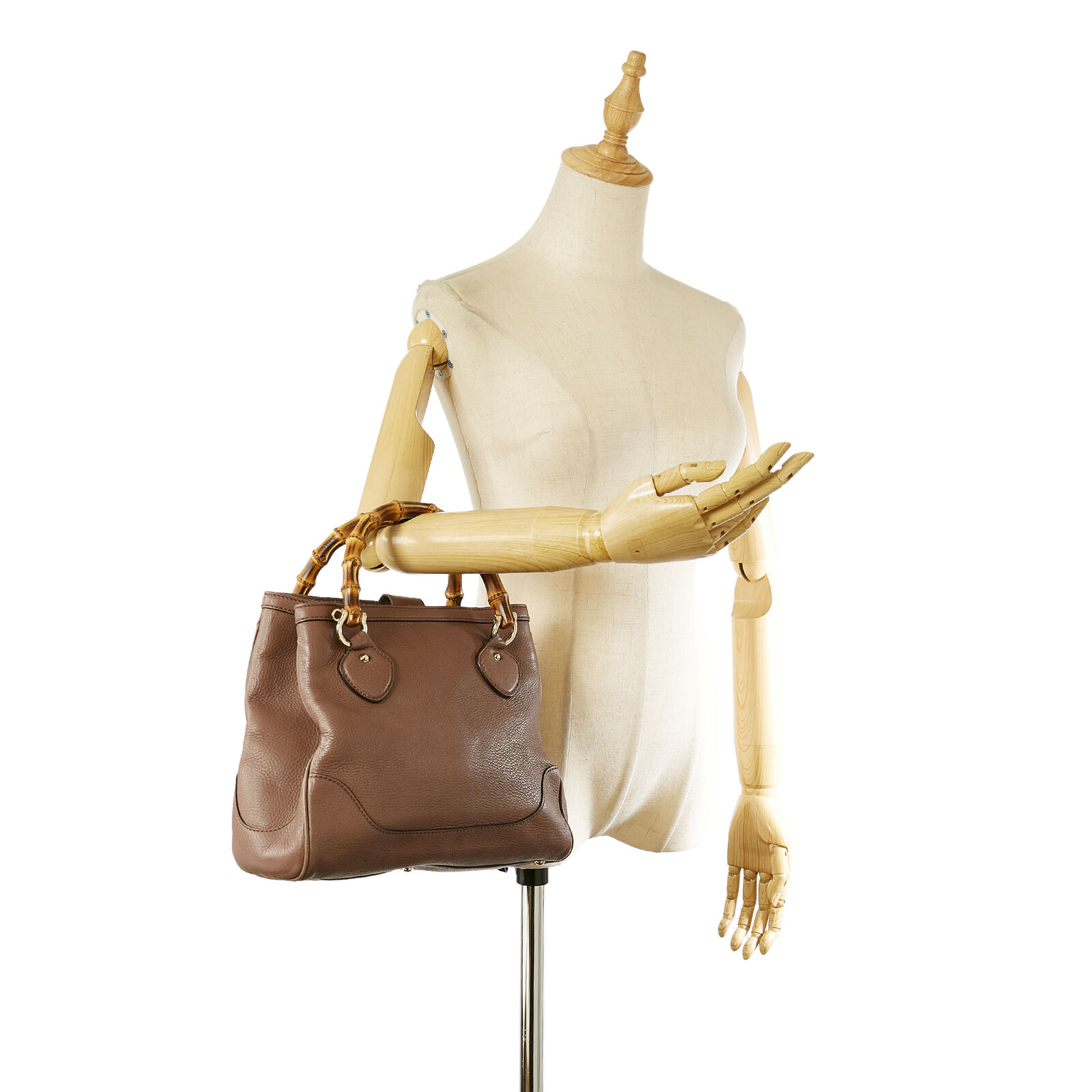 Pre-Loved Gucci Brown Calf Leather Bamboo Diana H… - image 10