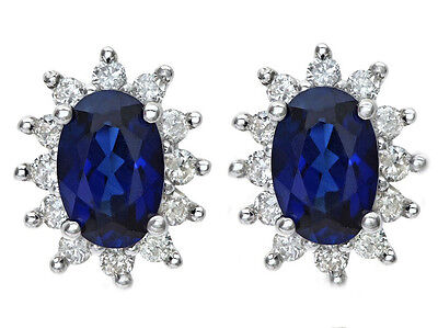 E111- Genuine 9ct Gold NATURAL Sapphire & Diamond Cluster Earrings Oval Studs