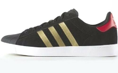 Adidas SUPERSTAR VULC ADV Leather Black gold Red Discounted (334) Men's shoes