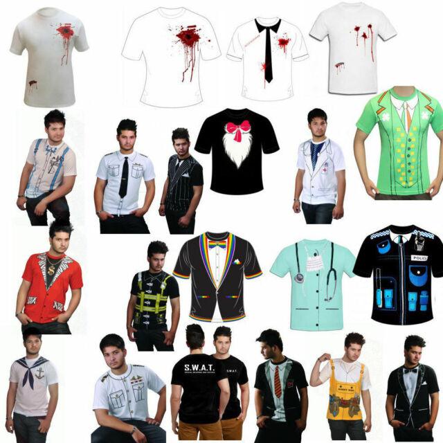 Adult Men Printed T Shirts Stag Do Fancy Dress Doctor Cowboy Geek Nerd Costume