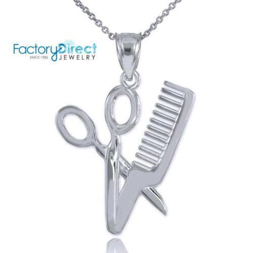 White Gold Scissor and Comb Pendant Necklace Barber Shop Hair Salon Charm