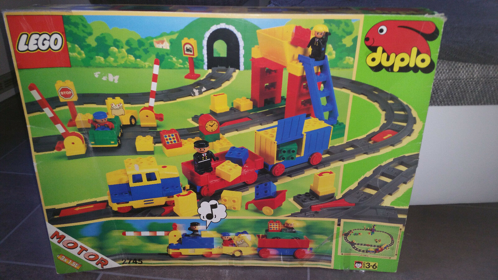 Lego Duplo 2745 Eisenbahn Set Zug Lok Diesellok 100% komplett in OVP