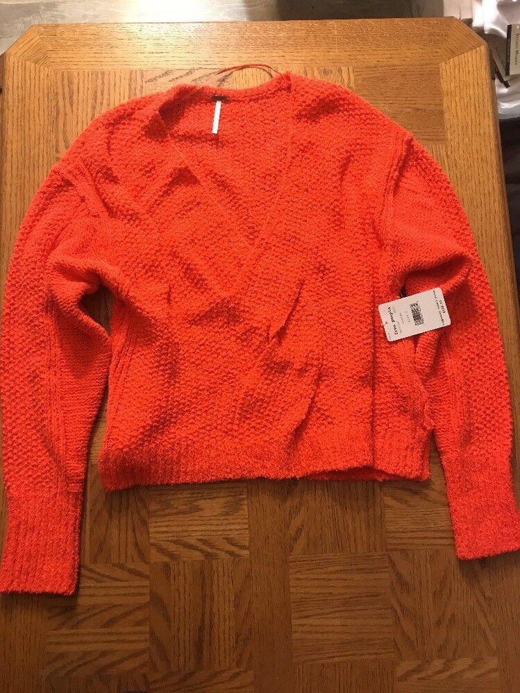 Free People Womens orange Knit Sweater Size Size Size Small 0024 067ea1