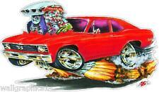 Mad Dog 1968-72 Chevy 2 Nova BBC 396 Cartoon Car Vinyl Decal Wall Graphic Cling
