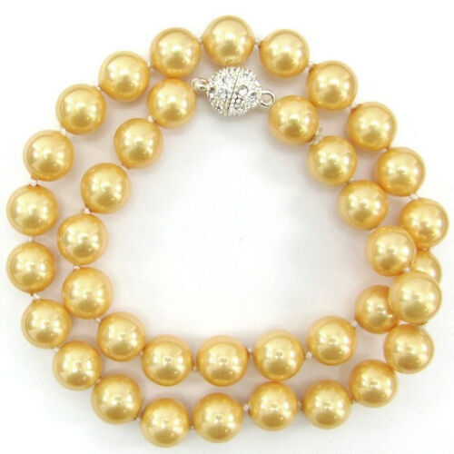 "RARE NEUF 8 mm 10 mm 12 mm 14 mm Jaune South Sea Shell collier de perles 18/""AAA"