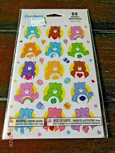 New CARE BEARS Stickers 69 Stickers Grumpy Wish Luck Tenderheart Love Cheer Bear
