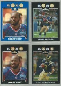 St-Louis-Rams-4-card-2008-Topps-Chrome-REFRACTORS-amp-XFRACTORS-lot-all-different