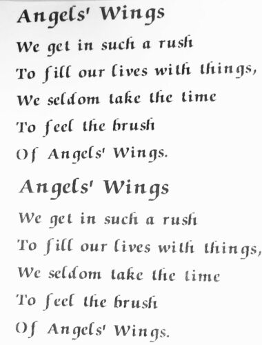 "Angels/' Wings Poem 4 pcs  2/"" X 2-3//4/"" Waterslide Ceramic Decals Xx"
