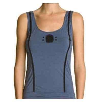 NEUF Top IKKS 42 bleu motif noir caraco débardeur t-shirt femme haut fashion